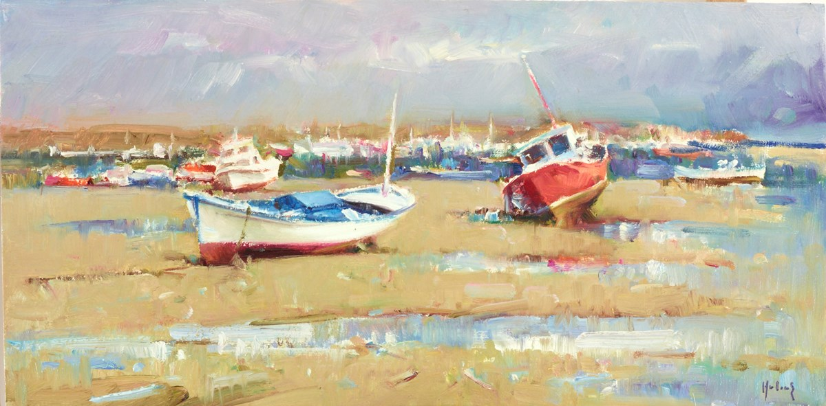 Boats at Low Tide by helios -  sized 16x8 inches. Available from Whitewall Galleries